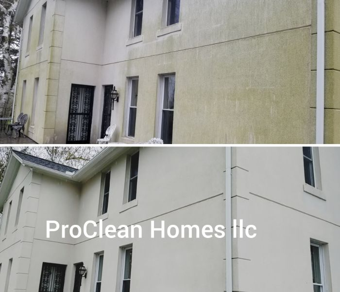 residential exterior house pressure washed and cleaned in Tampa